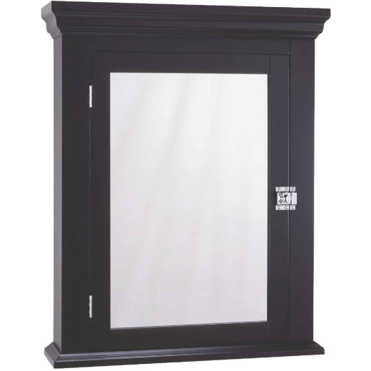 Zenith Americana Espresso 22.25 In. W x 27.25 In. H x 5.75 In. D Single Mirror Surface Mount Crown Pediment Medicine Cabinet